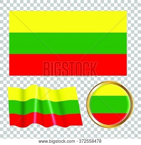 Vector Illustration Of The Flag Of Lithuania. Isolated Image Of The Options Of The Flag Of Lithuania