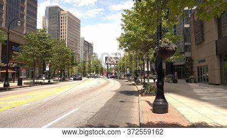 Atlanta Midtown Streetview On Peachtree Street - Atlanta, Georgia - April 20, 2016