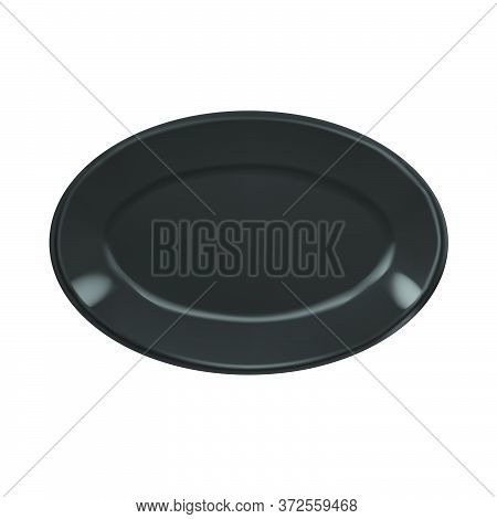 Vector Realistic Illustration Of Black Oval Porcelain Plate. Isolated Image Of Tableware.