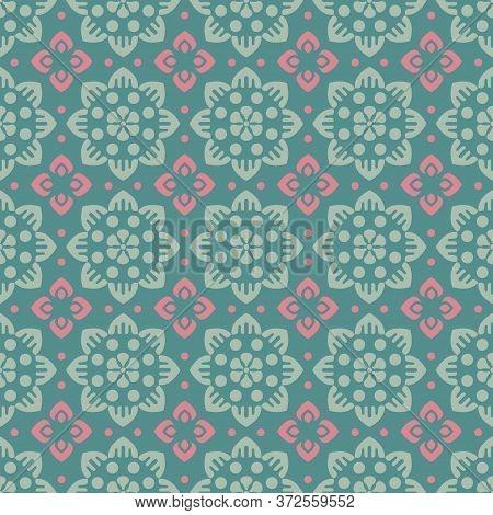 Retro Vintage Chinese Traditional Pattern Seamless Background Round Cross Flower Kaleidoscope