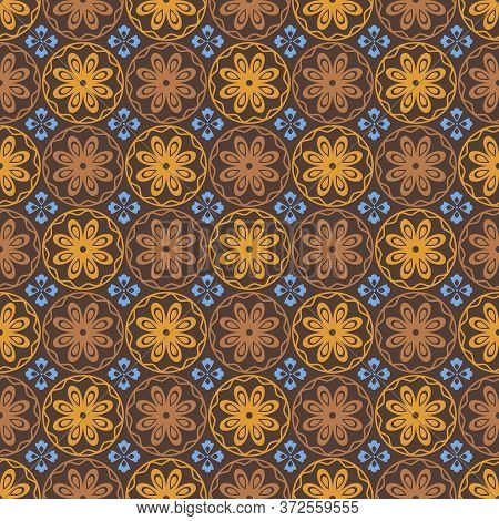 Retro Vintage Chinese Traditional Pattern Seamless Background Brown Round Curve Cross Flower Kaleido