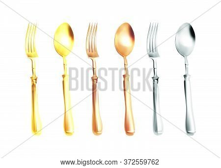 Set Of Fork, Knife And Spoon Isolated On White. Vector Realistic Illustration. Forks, Knives, Spoons