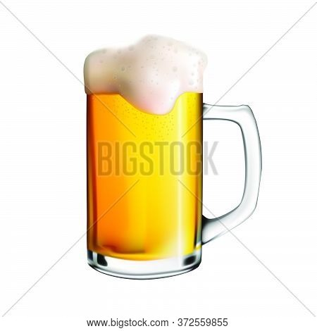 Isolated Image Of A Glass Wine Glass With Beer. Vector Realistic Illustration Of Beer Mug. Oktoberfe