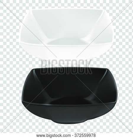 Vector Illustration Of Deep Ceramic Utensils. An Isolated Image Of Square Plates. Black And White Po
