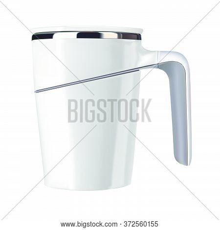 Vector Realistic Illustration Of A White Thermomug. Isolated Image Of Cookware. A Cup For Hot Tea.ce