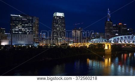Nashville By Night - View Over The Skyline - Nashville, Usa - June 17, 2019