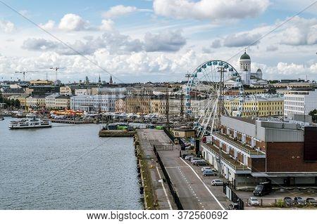 Helsinki.finland.05 September, 2015.shopping Area And The Pier In The Port Of Helsinki.