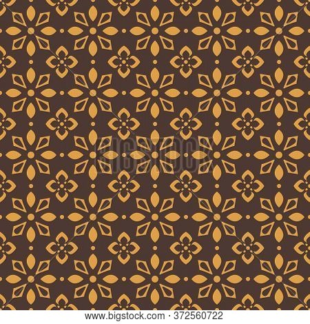 Retro Vintage Chinese Traditional Pattern Seamless Background Brown Geometry Star Cross Flower Kalei