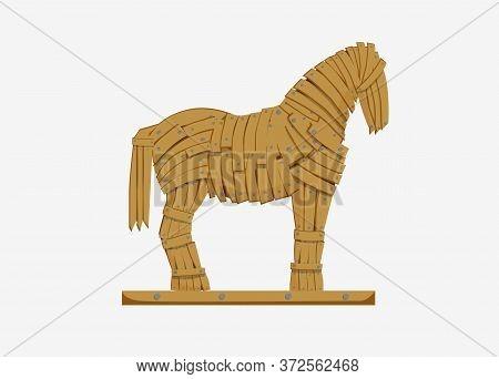 Trojan Horse Illustration. Mythicaln Statue Horse Military