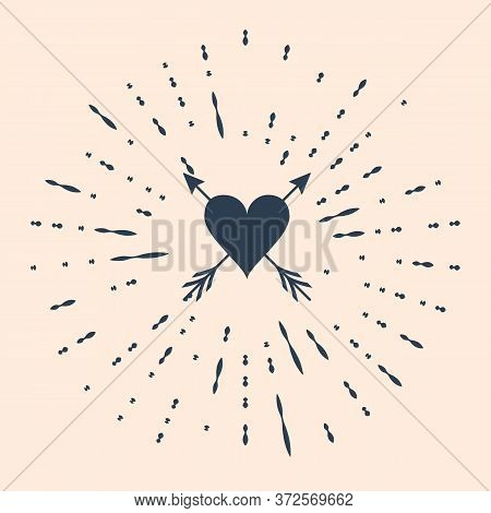 Black Heart With Arrow Icon Isolated On Beige Background. Happy Valentines Day. Cupid Dart Pierced T