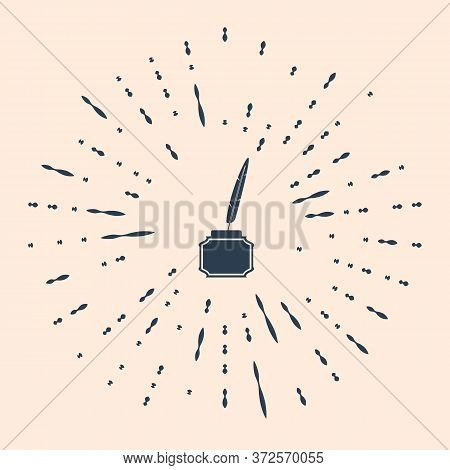 Black Feather And Inkwell Icon Isolated On Beige Background. Abstract Circle Random Dots. Vector Ill