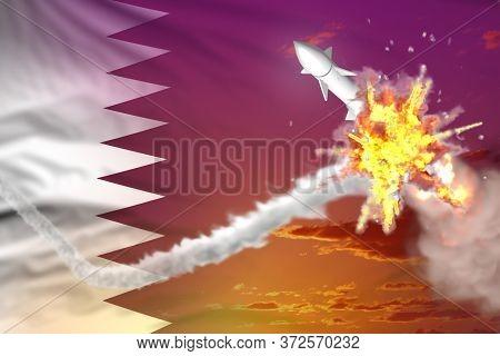 Qatar Intercepted Supersonic Warhead, Modern Antirocket Destroys Enemy Missile Concept, Military Ind