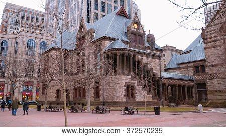 Trinity Church At Copley Square In Boston - Boston. Usa - April 5, 2017