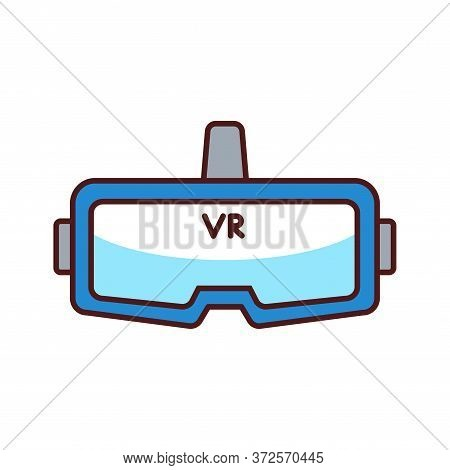 Vr Glasses Color Line Icon. Virtual Reality Glasses Or Goggles. Type Of Eyewear Which Functions As A