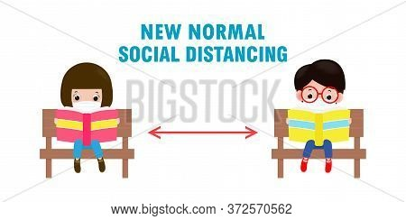 Back To School For New Normal Lifestyle Concept, Social Distancing, Cute Kids Wearing Face Mask Sitt