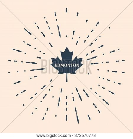 Black Canadian Maple Leaf With City Name Edmonton Icon Isolated On Beige Background. Abstract Circle