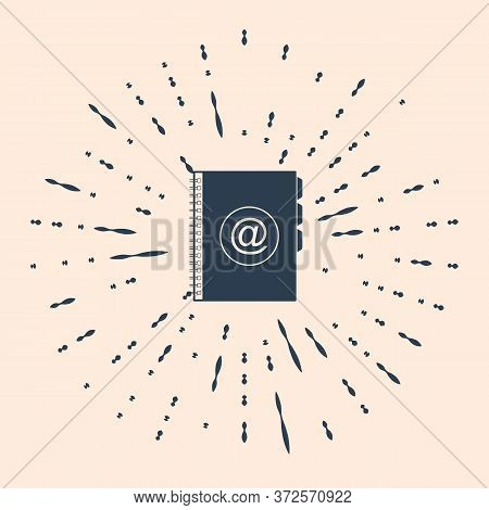Black Address Book Icon Isolated On Beige Background. Notebook, Address, Contact, Directory, Phone,
