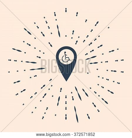 Black Disabled Handicap In Map Pointer Icon Isolated On Beige Background. Invalid Symbol. Wheelchair