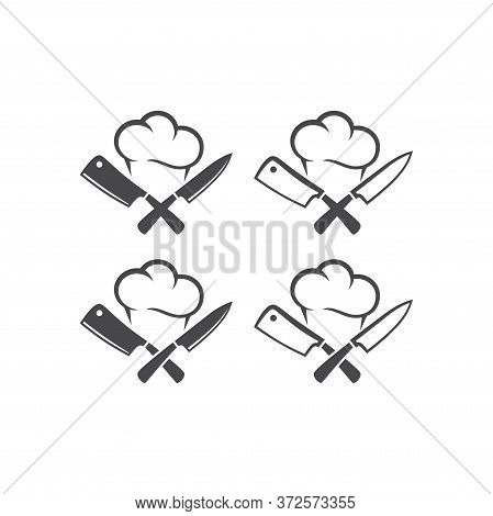 Kitchen Knives Or Cleaver Crossed With Chef Cap Black Vector Pictogram Icon. Logo For Restaurant.