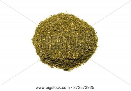 Original Israel And Arabic Zaatar Isolated On White Background. Pile Of Middle Eastern Traditional M