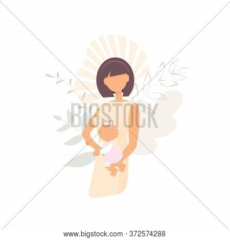 Cute Young Woman Mother Without Face In Minimal Style Decorated Fantasy Abstract Leaves. Gentle Girl