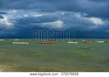 Pattaya, The Stormy Sky Over The Bay Before The Rain