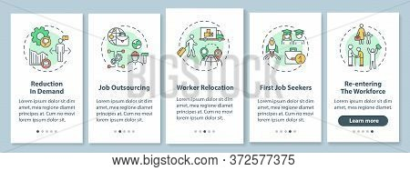 Causes Of Unemployment Onboarding Mobile App Page Screen With Concepts. Job Shortage, Work Issues Fa