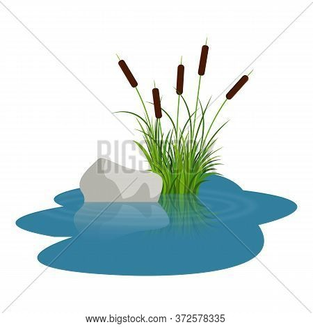 Bush Reeds With Stone On The Water. Reeds Stern And Grey Stone Reflected In The Lake Water With Wate