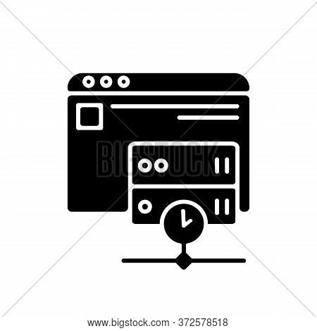 Caching Black Glyph Icon. Modern Internet Technology For User Convenience Silhouette Symbol On White