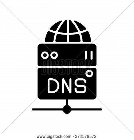 Dns Server Black Glyph Icon. Local Domain Name System, Transfering User Requests Silhouette Symbol O