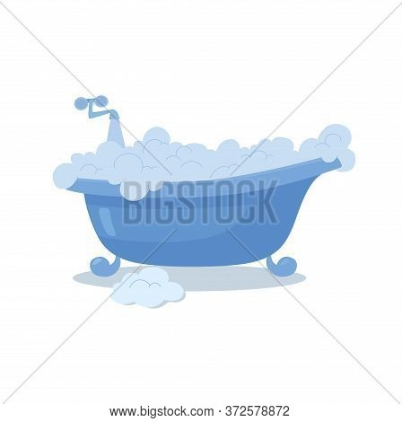 Blue Bath With Foam, Open Faucet, Flowing Water. Vector, Flat