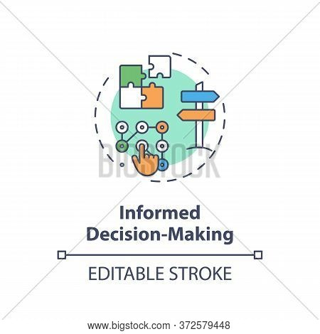 Informed Decision Making Concept Icon. Plan Strategy For Opportunity. Problem Solution. Data Analysi