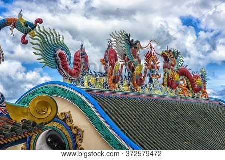 Thailand, Pattaya, 27,06,2017 Beautiful Chinese Dragons Sculpture At Anek Kusala Sala (viharn Sien)
