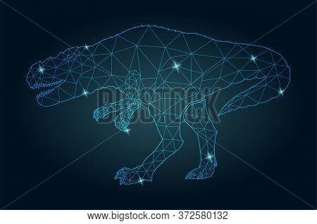 Beautiful Starry Low Poly Illustration With Shiny Blue Dinosaur Silhouette On The Dark Background
