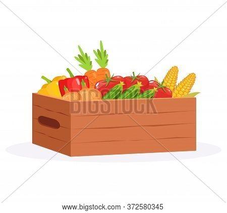 Harvest In Casket Semi Flat Rgb Color Vector Illustration. Vegetables From Farmers Market. Fresh Cor