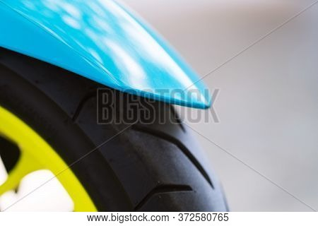 Close Up Of Motorcycle Front Green Mudguard