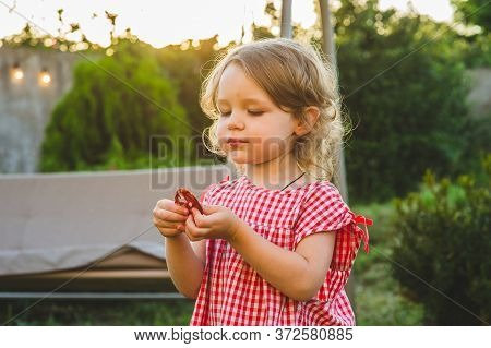 Girl Eating Sausage At Family Barbeque. 2 Years Old Girl Eats Sausage. Little Girl On Nature Mouth A