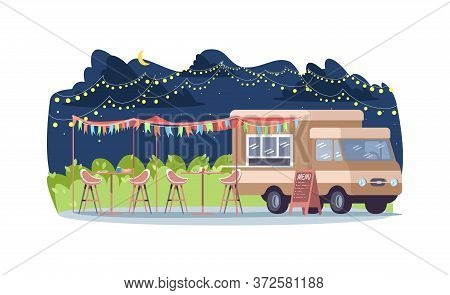 Nighttime Food Event Semi Flat Vector Illustration. Van To Sell Streetfood. Seasonal Market With Fas