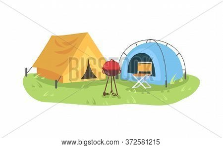 Campground Semi Flat Vector Illustration. Colorful Tents With Grill And Chair. Camping Outdoors And