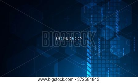Futuristic Cyberspace Blue Hexagon Abstract Technology Background;speed Internet Technology Copy Spa