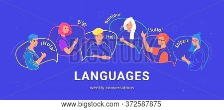 Happy Multilingual Teenagers Talking And Greeting Each Other In Different Languages. Flat Vector Ill