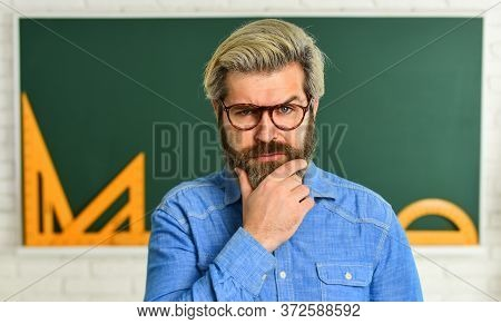 Talented Pedagogue. Study In College. Mature Bearded Teacher In Glasses. Education Concept. Private