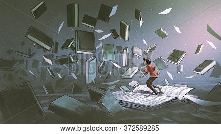 Boy Standing On The Opened Book And Looking At Other Book Floating In The Air, Digital Art Style, Il