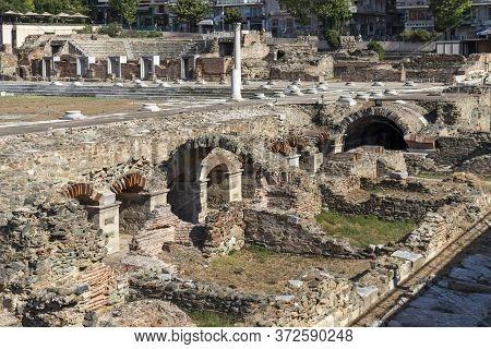 Thessaloniki, Greece - September 22, 2019: Ruins Of Roman Forum In The Center Of City Of Thessalonik