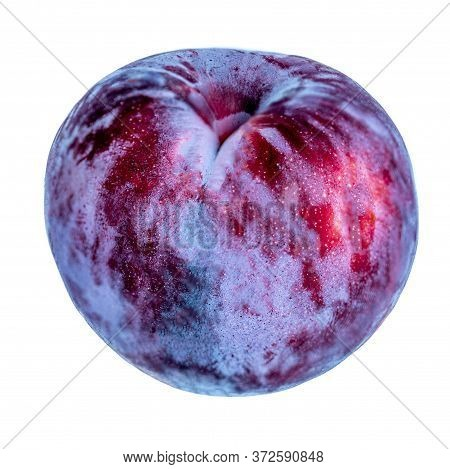 Ripe  Plum Fruits Isolated On White Background. Whole  Blue Plum Macro