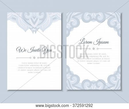 Greeting Cards Set With Colorful Mandala Pattern. East Indian Style. Beautiful Background For Card,