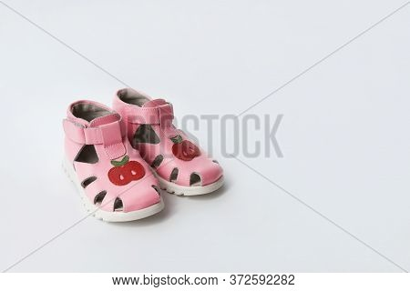 Little Girls Pink Shoes. Baby Shower Concept. Leather Shoes For Baby. First Kids Footwear. Copy Spac