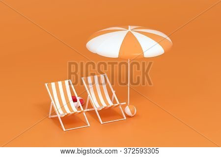 Sunshade, Beach Chair With Orange Background, 3D Rendering.