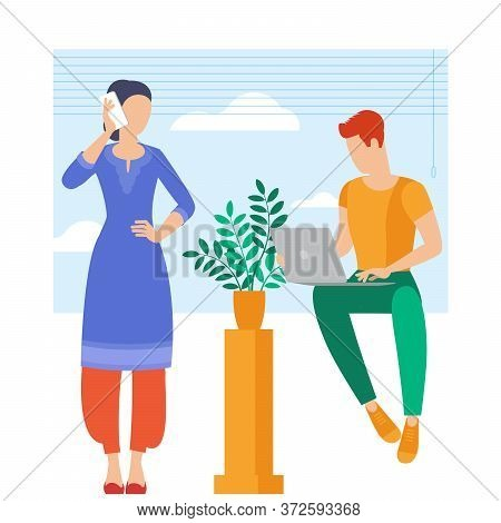 The Best Place For Remote Work. Young Man And Woman Is Working Outsourced. Lat Design Vector Illustr
