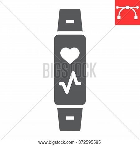 Fitness Tracker Glyph Icon, Fitness And Sport, Fitness Band Sign Vector Graphics, Editable Stroke So